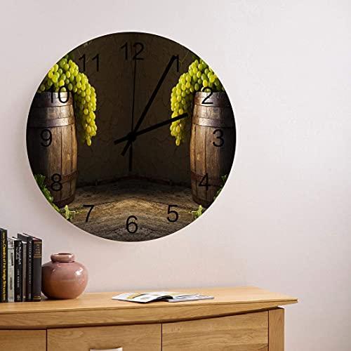 Reloj de pared redondo de madera de 10 pulgadas, vino blanco con uvas verdes y barril BRWN, silencioso, sin tictac, reloj de pared redondo, número romano, manos, reloj, sala de estar, dormitorio, ofic