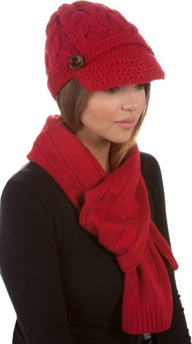 EHATES870VB - Womens 2-piece Cable Knitted Visor Beanie Scarf and Hat Set with Button Accent (8 Colors) - Red/One Size