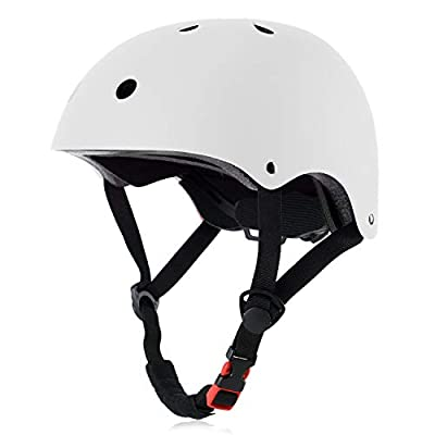 OUWOR Kids Skateboard Helmet for Girl and Boy, CPSC Certified Lightweight Adjustable, Multi-Sport for Cycling Skating Scooter (White, Small)