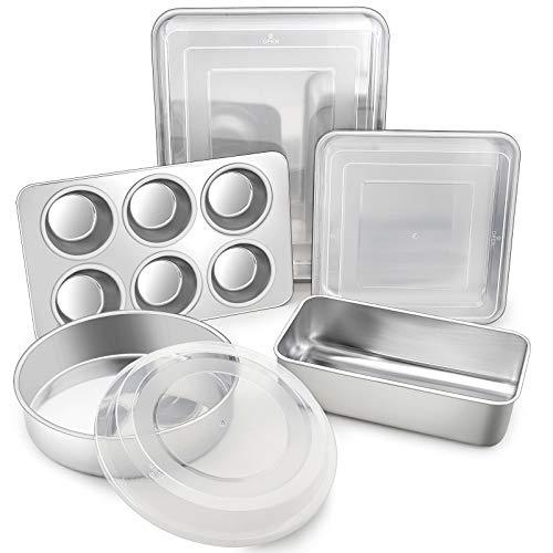 TeamFar Stainless Steel Bakeware Set of 8, Baking Roasting Pan Set with Lid, Lasagna Pan with lid, Square & Round Cake Pan, Loaf Pan & Muffin Pan, Healthy & Durable, Dishwasher Safe & Smooth