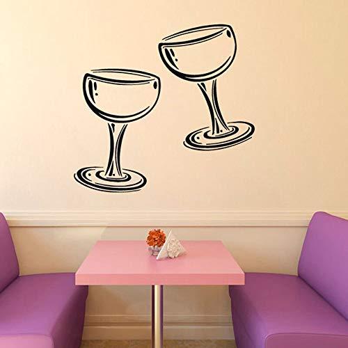 Dos copas de vino, champán, etiqueta de la pared, cocina, café, sala de estar, diseño interior del hogar, vinilo, etiqueta de la pared, 57Cm X 82Cm