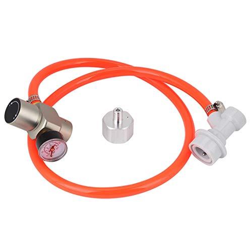 Mini regulador de CO2 ligero, Mini regulador de gas, adaptador de barril, kit de cargador de manómetro para accesorios de agua con gas de rosca Tr21x4
