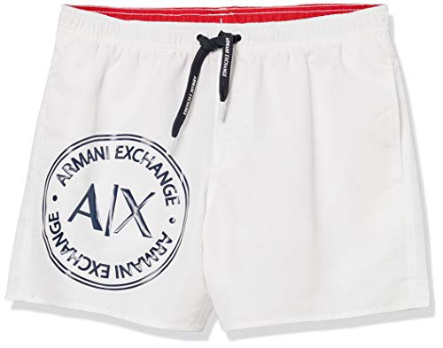 Armani Exchange Herren 1st to BE Noticed Badehose, Weiß (Bianco - White 00010), XX-Large (Herstellergröße:XXL)