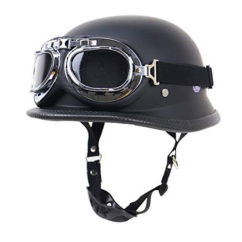 SanQing Sommer handgefertigte Persönlichkeit Vintage Harley Motorradhelm + Sonnenbrille, Deutschen Stil Halbradhelm Motorrad Cruiser Roller Cool Halley Helm,ElegantBlack,XL