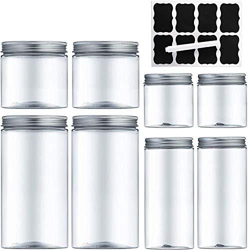 MEIXI Contenitori Alimentari, Barattoli Cucina, Contenitori Plastica Trasparente con Coperchio in Metallo per la Conservazione Ideale per Zucchero, Biscotti, caffè, Pasta Senza BPA - 8 Pezzi (4.2L)