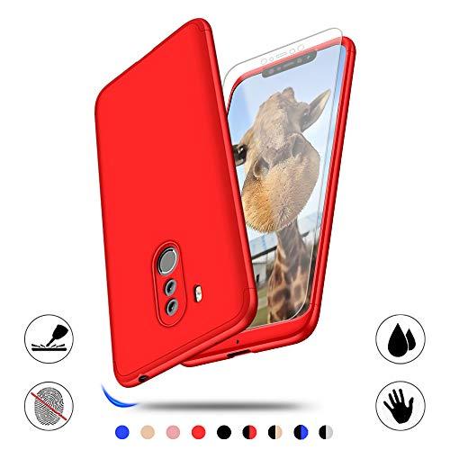 AChris Custodia per Xiaomi Pocophone F1, 360 Gradi Full Body Protezione con Vetro Temperato Ultra Sottile Cover Case per Xiaomi Pocophone F1 Anti-Graffo/Olio/Impronta- Rosso