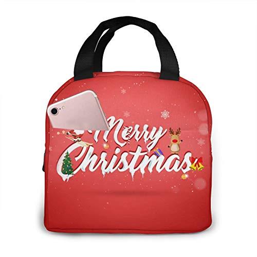 Merry Christmas - Bolsa de almuerzo portátil con aislamiento impermeable de gran capacidad para viajes, para oficina, escuela, picnic
