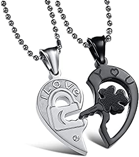 """""""I Love You"""" Stainless Steel Men's Women's Couple Necklace - Heart Lock and Key Lucky Clover Couple Pendants Gift Necklace"""