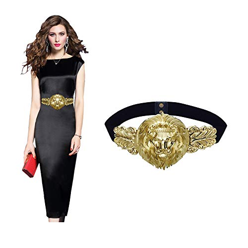 VITORIA'S GIFT Golden Lion Head Women Girdle Metal Round Buckle Elastic Exaggeration Belt for Women's Black Waistband Gold Elastic Waist Seal
