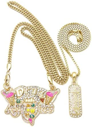 Hip HOP Gold PT Drug Addict Xanax Pendant 24 Box Cuban Chain Bling Necklace Set product image