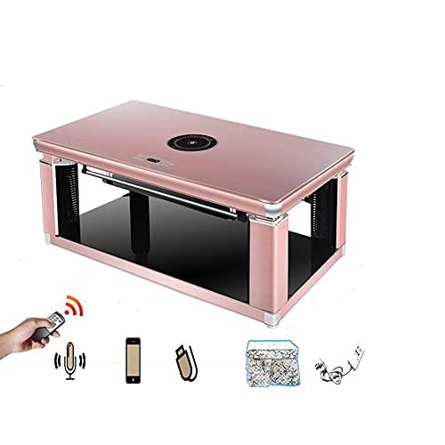 CHICAI Tabla de calefacción eléctrica doble inteligente de voz, mesa de estufa de 1.38m, mesa de centro de calefacción, mesa de cocción de inducción de elevación automática de hogar, estufa multifunci