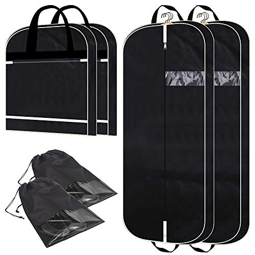 2 Pack 54' Gusseted Garment Bags with Extra Large Pockets for Travel, Breathable Foldable Suit Covers Mens Womens Hanging Bag for Clothes Shirts Dresses Coats, Black