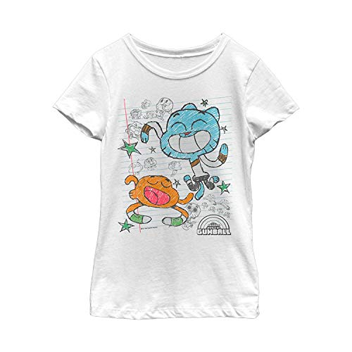 Harry wang Il Meraviglioso Mondo di Gumball Women's Notepad Doodle Print T-Shirt, S