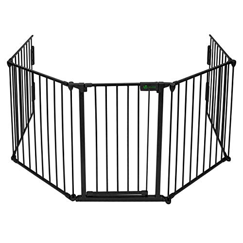 VOUNOT 5 Panel Metal Fire Guard, Baby Safety Gate, Dog Pet Cat Barrier Indoor, Extra Wide Fireplace Fence, Hearth Gate, 300 cm, Black