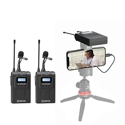 【法人割引あり】【技適マーク認証】BOYA BY-WM8 PRO K2 使用UHFチャネル、ワイヤレスピンマイクシステム ステレオ/モノラルモード切替 カメラマイク 内蔵マイク/外部マイク付属 50M伝送距離 1台送信機・1台受信機 用于スマホ、カメラ、キヤノンカメラ、ニコンカメラなどに対応YouTube、 インタビュー、映画制作、ブログ用【1年間保証】(腰掛け式, TX-TX-RX)