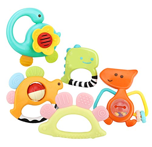 Easy to Hold,Pain Relief Teether Toys Best Baby Shower Gift BPA Free Silicone Teether 3 Pack Soft Silicone Baby Teething Toys