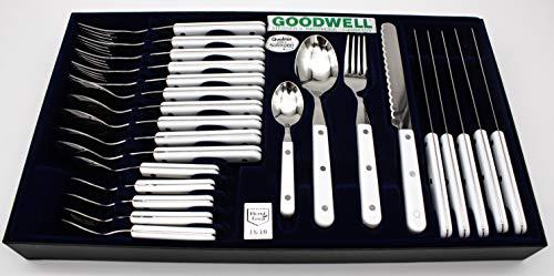 Goodwell Besteck, Messer, Gabel und Löffel Set (24 Teilig) im Etui mit Wellenschliff (Weiss)