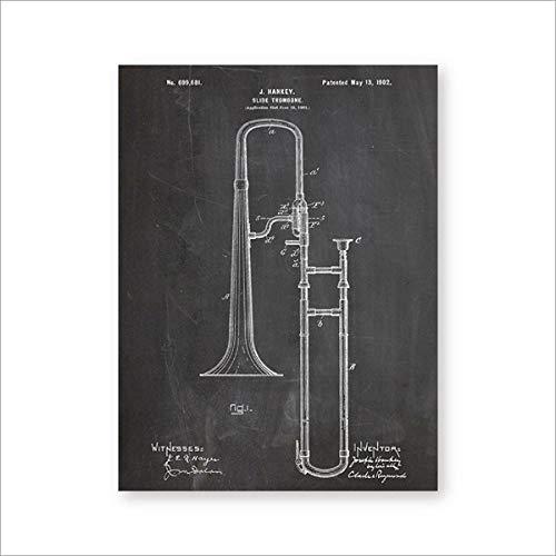 VVSUN Vintage Trombone Blueprint Jazz Art Posters decoración de la habitación de música Lienzo Pintura Cuadros de Pared Cartel de música decoración del hogar 50X70cm 20x28 Pulgadas sin Marco