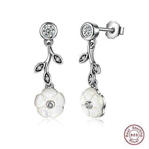 MOCCI 2016 Mutter Geschenk Neue leuchtende Blumenstock Ohrringe mit Mutter-von-Perle u. CZ 925 Sterlingsilber-Art- und Weiseschmucksachen für Frauen