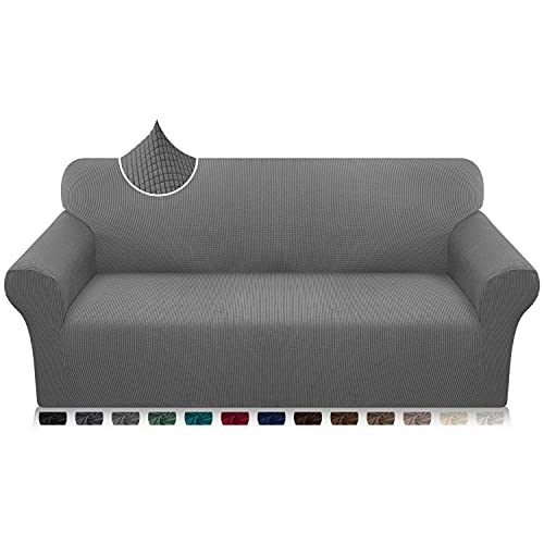 Luxurlife High Stretch Sofa Covers 3 Seater Ultra Soft Stylish Couch Covers for Dogs and Kids Jacquard Spandex Furniture Protector With Elastic Bottom(3 Seater,Light Gray)