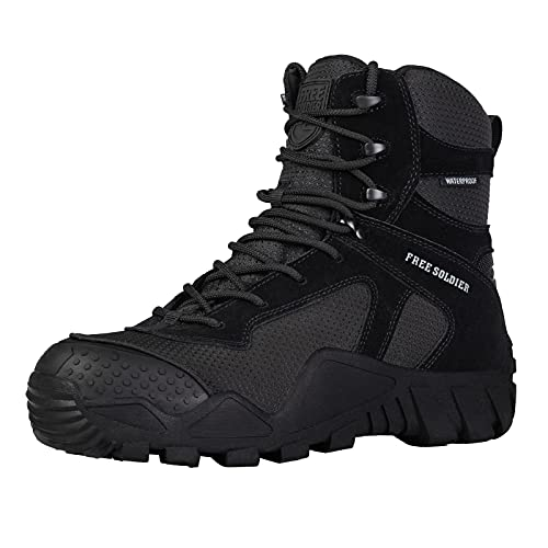 FREE SOLDIER Outdoor Men's Waterproof Tactical Military Boots Suede Leather Work Boots Combat Hunting Boots (10 M US Waterproof Black)