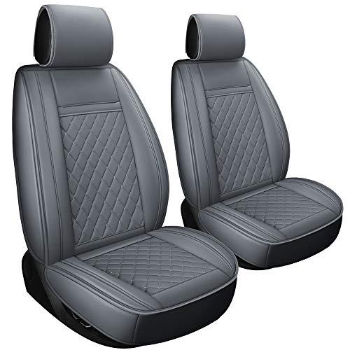 LUCKYMAN CLUB 2 PCS Gray Car Seat Covers Fit Most Sedan SUV Truck Fit for Chevy Silverado Equinox Malibu Impala 4Runner Tacoma Land Cruiser (2pcs Gray)