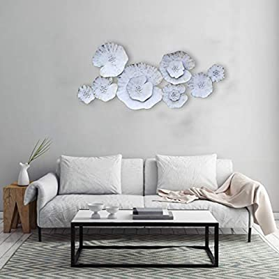 Decorlives Lotous Leafs White Color Metal Wall Art Sculpture Home Décor Wal Hanging by Decorlives Inc