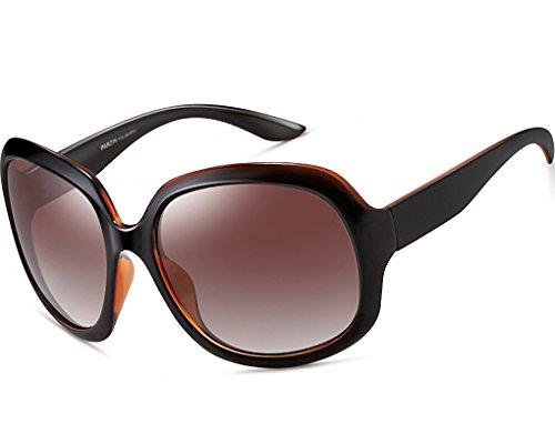 ATTCL Damer polariserade stora solglasögon 100 % UV400 skydd, - BRUN - Medium