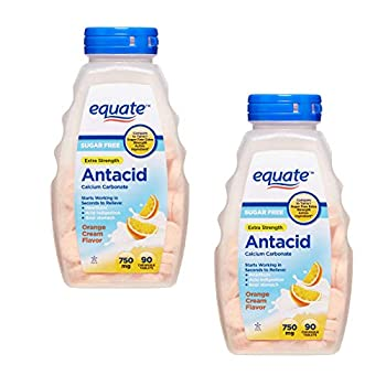 Sugar Free Antacid Orange Cream Flavor 180 Chewable Tablets Equate - Compare to Tums  2 Bottles of 90 Each  by Equate