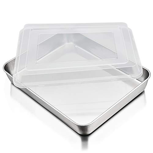 P&P CHEF Baking Pan with Airtight Lid, Stainless Steel Lasagna Cake Pan and Plastic Lid, 12.3 Inch Rectangular Bakeware for Baking Reheating Roasting Storing, Heavy Duty & Dishwasher Safe