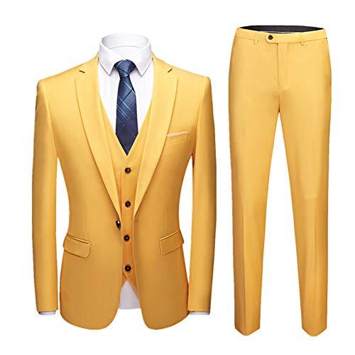 Herren Anzug Slim Fit 3 Teilig mit Weste Sakko Anzughose Business Hochzeit Party Smoking Gelb L