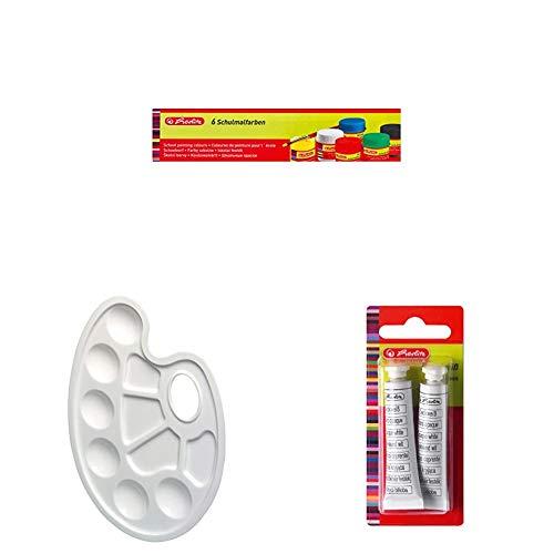 Herlitz 8643025 Schulmalfarben, 6 Farben, 25 ml + Mischpalette mit Griffloch, Kunststoff + Deckweiß, 2 Tuben a 7.5 ml