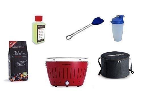 LotusGrill Barbecue Kit de démarrage 1x Lotus Barbecue charbon de bois de hêtre Rouge, 1x 1kg, 1x Pâte combustible 200ml, 1x Pinceau Bleu Outremer, 1x Shaker à vinaigrette, 1x sac de transport