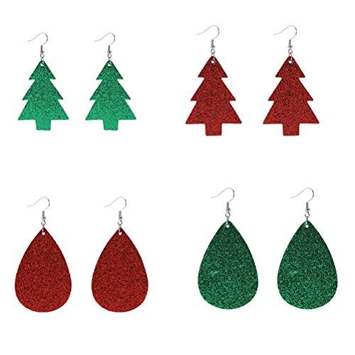 PRETYZOOM - Pendientes de Navidad de piel sintética con forma de lágrima para mujer, color verde y rojo