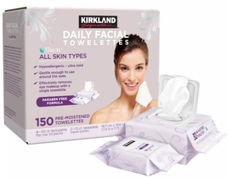Kirkland Signature Daily Facial Towelettes 150 pre-moistened wipes