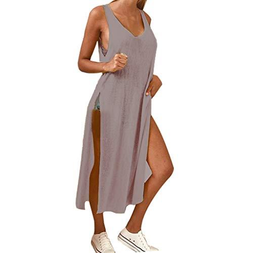Goosuny Damen Strandkleid Locker Sexy Trägerkleid Seitenschlitz Split Sommerkleid V-Ausschnitt Rückenfrei Maxi Lang Träger Kleid Tank Kleider Strandmode Cocktailkleid