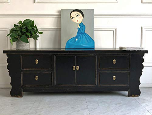 OPIUM OUTLET Chinesisches Lowboard Sideboard Kommode Büffet Anrichte schwarz China Shabby Chic Vintage Holz