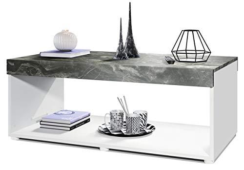 Vladon Couchtisch Wohnzimmertisch Pure mit Zwei großen Ablageflächen, Korpus in Weiß matt/Tischplatte und Blenden in Marmor Graphit | Große Farbauswahl
