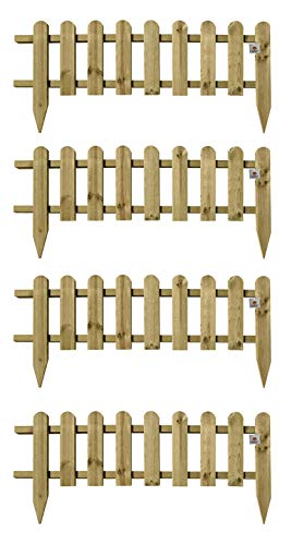 Pack of 4 x Wooden Panel Picket Fencing - Garden Wood Border Fence