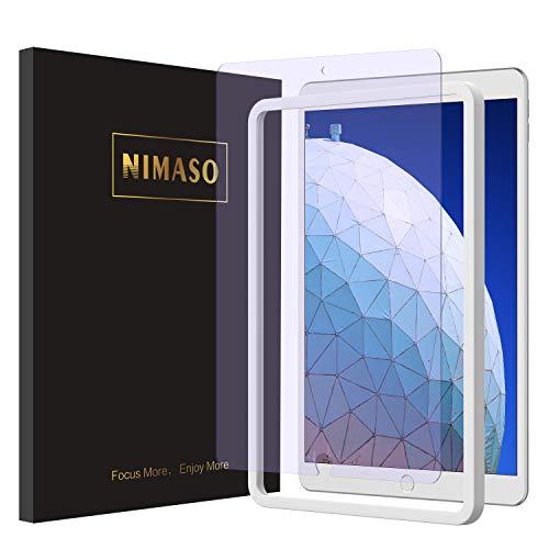 【ガイド枠付き】【 ブルーライトカット 】 Nimaso iPad Air 3 (2019)/ iPad Pro 10.5 用 フィルム 強化ガラス 液晶保護フィルム