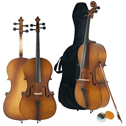 LYKOS 4/4 Acoustic Cello + Case + Bow + Rosin Wood Color Beautiful Varnish Finishing (Matt Natural)