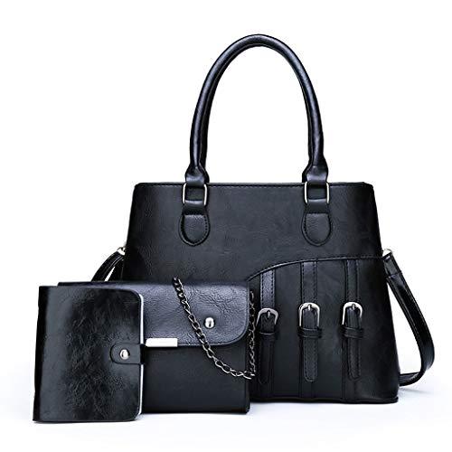 Damen Handtasche 4 Pcs Set / Damen Elegant Handtasche Schultertasche Portemonnaie Tragetasche Taschen Handtaschen Crossbody Schultertasche Leichte Stylische Bag Frauen (One size, Z6-Schwarz 3PCS)