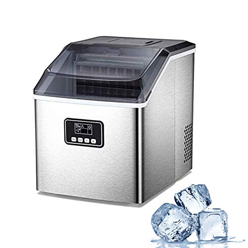 Electactic Ice Maker Machine for Countertop, 40Lbs/24H Compact Ice Cube Maker, Portable Electric Ice Makers with Ice Scoop and Basket, Ice Making Machine for Home, Kitchen, Bar (Silver)