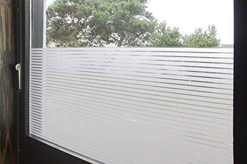 Tamia-Living Statische raamfolie, 90% uv-zonwering, zelfklevend, zichtwerende folie, glasdecoratie, liniaal wit, 1 cm, S018-3 (152 x 150 cm)