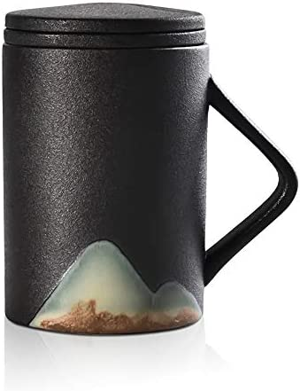 WEST X ZEN Japanese Style Ceramic Tea Mug with Infuser and Lid for Loose Leaf Tea, Coffee, Tea Lovers Gift for Women and Men, Microwave and Dishwasher Safe (11oz) (Charcoal)