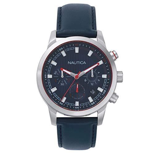 Nautica Taylor Collection - Reloj Casual de Cuarzo para Hombre, Acero Inoxidable y Cuero, Color: Azul (Modelo: NAPTYR002)