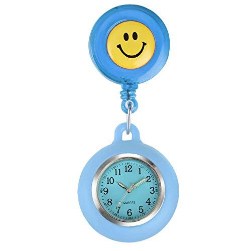 Krankenschwester Uhr Clip Bunte Lächeln Gesichter Quarz Taschenuhr Krankenschwester Uhr Silikon Leuchtzeiger Frauen Anhänger Uhr Krankenschwester Uhr-Himmelblau