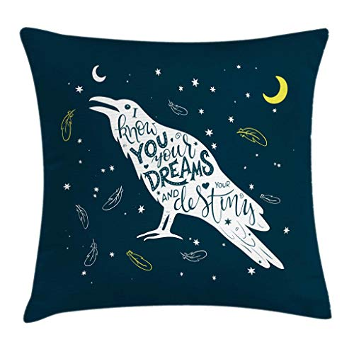 FULIYA Throw Pillow Cases Decorative Soft Square, White Bird Silhouette with Inspirational Quote on Night Sky Backdrop,Throw Pillow Cover Cushion Case for Sofa 24x24 INCH