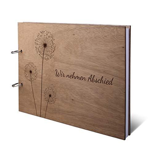 Kondolenzbuch Okoume Holzcover inkl. 144 Naturpapier Seiten DIN A4 quer 302 x 215 mm - Pusteblume