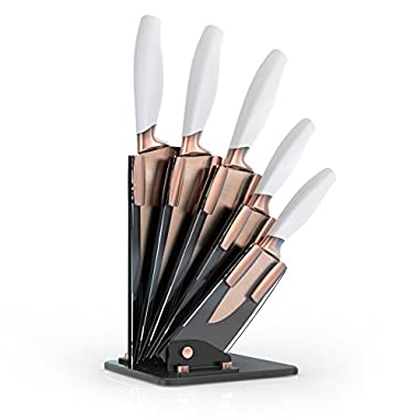 Taylors Eye Witness Brooklyn Copper 5 Piece Knife Block in White and Copper